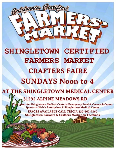 Shingletown Certified Farmers' Market & Crafters' Faire on Sundays through October 2019