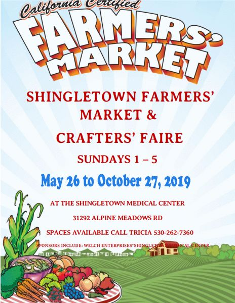 Opens May 26, 2019. Shingletown Certified Farmers' Market & Crafters' Faire on Sundays through October 2019