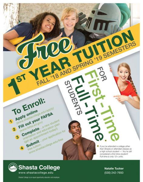 Free Tuition for First-Time Full-Time Students at Shasta College